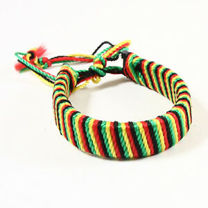 Image Is Loading Rasta Leather Cotton Thread Bracelet Reggae One Love