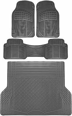 4pc All Weather Heavy Duty Rubber SUV Floor Mat Gray 2 Row & Trunk Liner 3D
