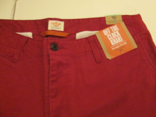 32 X 34 DOCKER FLAT FRONT D2 OFF THE CLOCK STRAIGHT FIT KHAKIS RED NWT