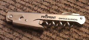 Owens Illinois propoint PROMO bottle can wine opener OPENER corkscrew METAL vtg