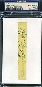 Jake Powell Psa Dna Coa Autograph 3x5 Index Cut Hand Signed Authentic