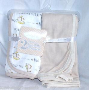 NWT Rene Rofe 2 Pack White Cute Bear Moon Beige Cotton Baby Swaddle Blanket