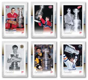 2017-CANADA-POST-NHL-LEGENDS-HOCKEY-CARD-STAMP-SET-of-6-ORR-GRETZKY-LEMIEUX-NEW