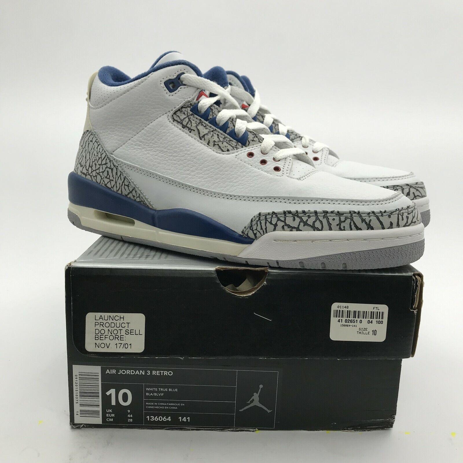 2001 Nike Air Jordan III 3 OG Retro White True bluee 136064-141 NEW New US 10