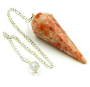 40-50 MM Natural Sunstone 6 Facet Dowsing Pendulum Healing Chakra Stone