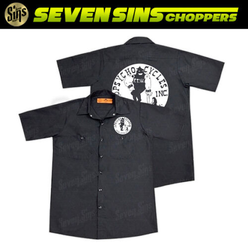 PSYCHO CYCLES AXEMAN ZOMBIE WORK SHIRT BLACK CHOPPER MOTORCYCLE