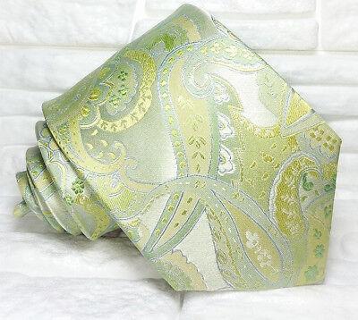 Cravatta Paisley Jacquard Verde Pura Seta Top Quality Made In Italy