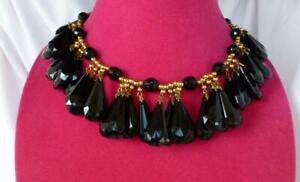 Vintage YVES SAINT LAURENT YSL Black Faceted Glass Jet & Gold-tone Necklace