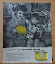 1957 magazine ad for Western Union - Lucille Ball & little Ricky read Bunnygram