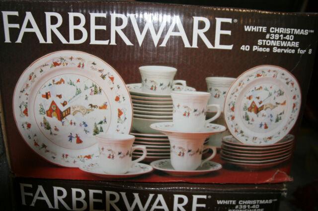 Farberware White Christmas 40 Pc Set Dinnerware 8 Place Settings