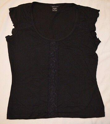 Victoria/'s Secret Moda International Scoop Neck Ruffle Sleeve Black Top Size M
