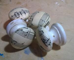 VINTAGE SHEET MUSIC MUSICAL NOTES DISTRESSED KNOBS HANDLE DRAWER PULLS DRESSER