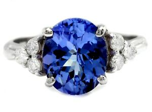 3-55-Carats-NATURAL-TANZANITE-and-DIAMOND-14K-Solid-White-Gold-Ring