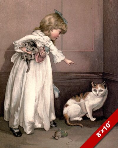 GIRL SCOLDING A NAUGHTY CAT KITTEN PET ANIMAL ART PAINTING REAL CANVAS PRINT