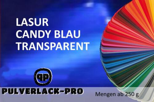 PULVERLACK  LASUR CANDY BLAU TRANSPARENT 250g BESCHICHTUNGSPULVER Powder Coating