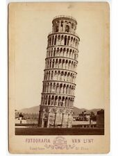 1880 PHOTO LEANING TOWER OF PISA W/ HORSE + BUGGY, FLORENCE, ITALY, CAB CARD