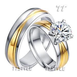 TT-Mens-Womens-14K-GP-Stainless-Steel-Engagement-Wedding-Band-Ring-Set-Couple