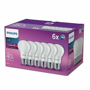 6-Pk-Philips-LED-Frosted-E27-Edison-Screw-40W-Warm-White-Light-Bulbs-Lamp-470Lm