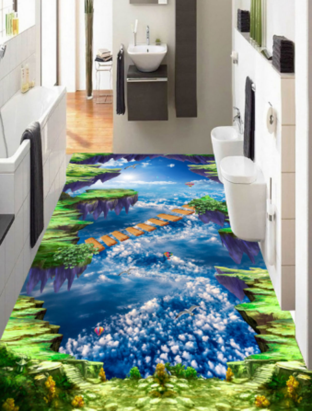 3D Blau Sky Bridge 4075 Floor WallPaper Murals Wallpaper Mural Print AJ AU Lemon