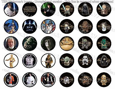 "60 Precut 1/"" Star Wars Bottle Cap Image Set 3"