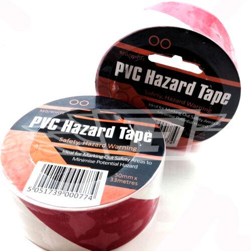 50mm WIDE * 33 METER RED /& WHITE SELF ADHESIVE PVC HAZARD WARNING TAPE