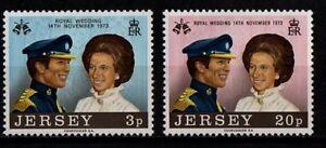 JERSEY-Gomma-integra-non-linguellato-UMM-Stamp-Set-1973-SG-97-98-Matrimonio-Reale-la-Principessa