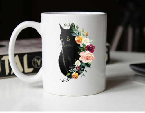 Black CAT Mug Gift Cat Lover Gift Pet Coffee Mug Cute Kitty Cup Gift for Women