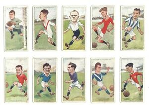 1926-Football-Caricatures-by-RIP-Complete-Players-Tobacco-Card-Set-50-cards-lot