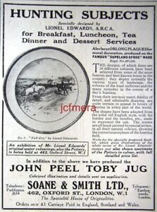 Copeland-Spode-Lionel-Edwards-Fox-Hunting-Chinaware-ADVERT-1922-Small-Print-AD