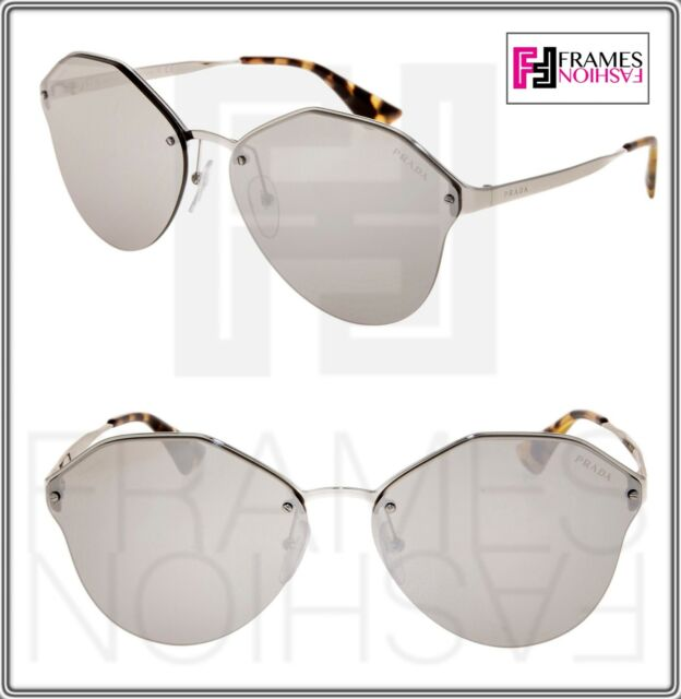 f4929f7db1dcf PRADA CINEMA Oversized Metal Sunglasses 64T Silver Grey Mirrored PR64TS  Women