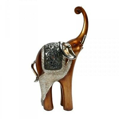 Glückselefant Dekofigur afrikanischer Elefant Skulptur 19 cm handbemalt