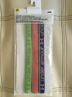 NWT UNDER ARMOUR GIRL'S NON-SLIP HEADBANDS, 3PACK, GREEN/ORANGE/BLUE, ONE SIZE