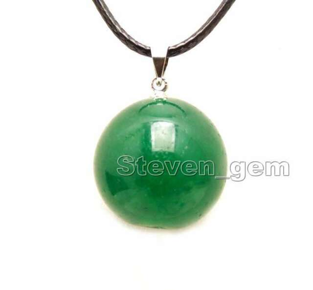 """SALE Huge 20mm Green Round Natural jade pendant cord 17-18/"""" necklace-nec6282"""