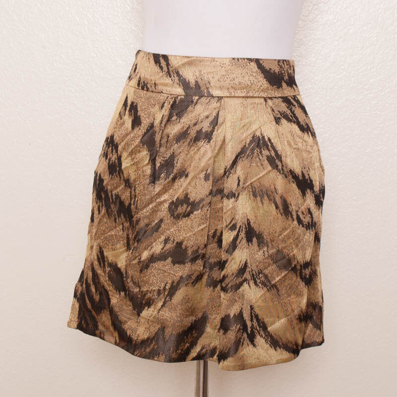 DVF Furstenberg Ginsy Palace Tiger Animal Print gold Brown Mini Skirt Size 10