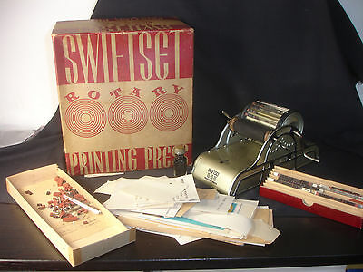 Old Vtg Swiftset Rotary Printing Press With Box & Paperwork Made In The USA
