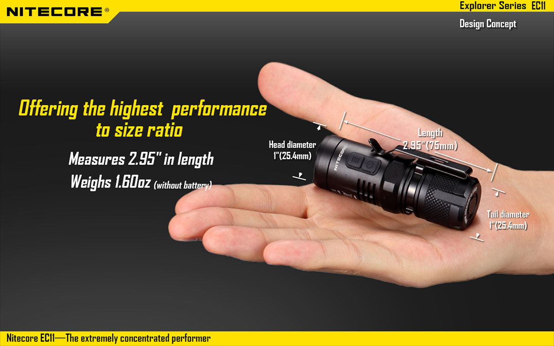Nitecore EC11 LED Flashlight - 900 EC1 Lumens - Upgraded from EC1 900 da3387