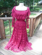Vintage Formal Red Lace Beetlejuice Lydia Style Wedding Costume Dress Size S/M