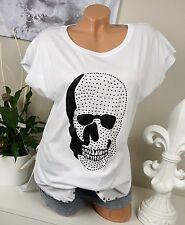 Italy Longshirt 3D Totenkopf Nieten langes Shirt Skull Weiß Schwarz 34 36 38 Neu