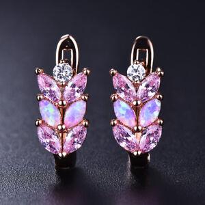 Elegant-Pink-Fire-Opal-Leaf-Wheat-ears-Leverback-Stud-Earrings-Rose-Gold-Jewelry