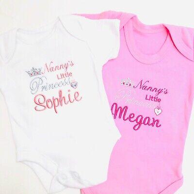 Nannys Little Princess Pink Soft Cotton Bodysuit New Baby Grandaughter Present