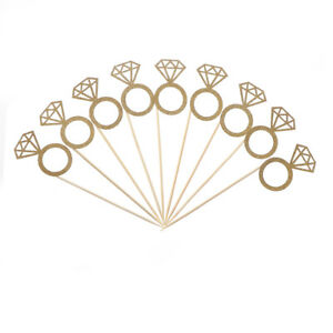 10x Diamond Ring Cupcake Toppers Engagement Wedding Party Table