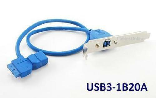 1-Port USB 3.0 Type B w// Bracket to 20-Pin Header Female /& Type A Female Cable