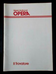 Il Trovatore programme Welsh National Opera WNO Tour 1980 Bristol Oxford Sou..