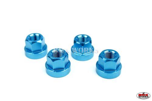 "Set of 4 Anodized Aluminium Blue BMX Hex Axle Nuts 3//8/""/' x 26tpi"