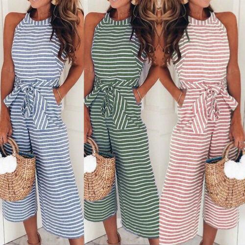 UK Womens Holiday Playsuit Romper Ladies Casual Long Jumpsuit Summer Beach Dress