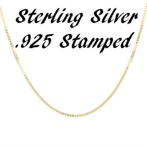 14K-Gold-Plated-Over-925-Sterling-Silver-1mm-BOX-Chain-Necklace-Solid-Italian