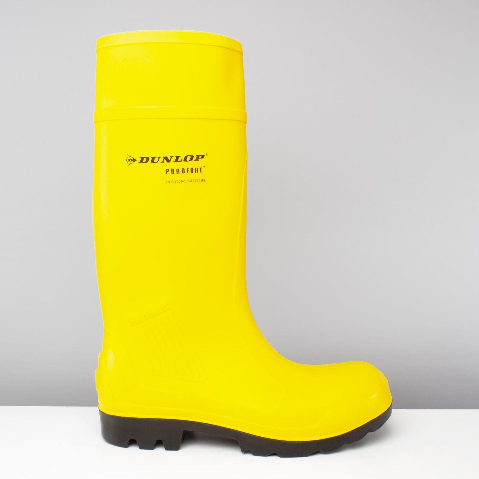 Dunlop C462241 Purofort Hombre S5 ci SRA Puntera De Acero botas Wellington entresuela Amarillo