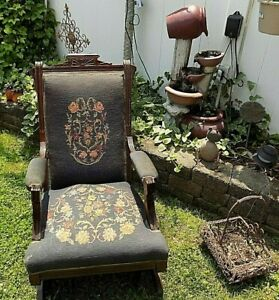 Antique1890-039-s-Eastlake-Platform-Rocking-Chair-Victorian-Rocker-Pick-Up-Only