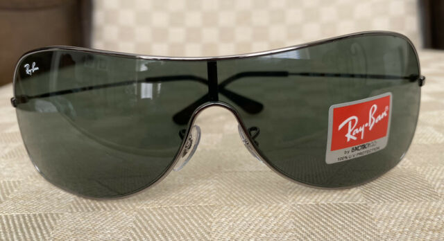 Authentic Ray-Ban Highstreet Shield Sunglasses Gunmetal Frame Green Lens RB3211
