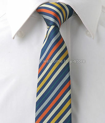 "L214 Dark Blue Orange Stripe Mens Skinny Slim Narrow Woven Silk 2.5"" Wedding Tie"